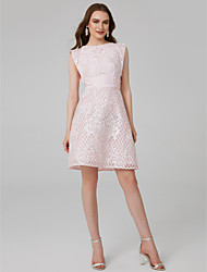 Χαμηλού Κόστους -Γραμμή Α Με Κόσμημα Κοντό / Μίνι Δαντέλα Κοκτέιλ Πάρτι Φόρεμα με Με Άνοιγμα Μπροστά με TS Couture®