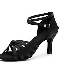 baratos -Mulheres Sapatos de Dança Latina Camurça Salto Salto Cubano Sapatos de Dança Marron / Vermelho / Nú