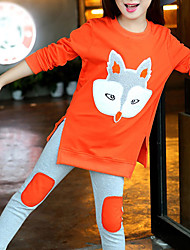 Недорогие -Дети Девочки Активный Классический Контрастных цветов Мультипликация Пэчворк Вышивка Длинный рукав Короткий Хлопок Набор одежды Оранжевый