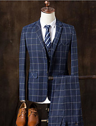 preiswerte -Marineblau / Grau Kariert Schlanke Passform Baumwolle Anzug - Fallendes Revers Einreiher - 2 Knöpfe