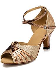 رخيصةأون -نسائي أحذية رقص / أحذية سالسا جلد صندل مشبك كعب مثير مخصص أحذية الرقص فضة / ذهبي / البنفسجي / للأطفال / داخلي / تمرين / متخصص / EU41