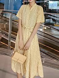 hesapli -Kadın midi gevşek salıncak elbise kırmızı sarı s m l
