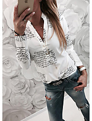 Недорогие -Жен. Рубашка Рубашечный воротник Тонкие Классический Буквы Белый / Весна / Осень