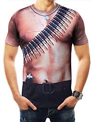 저렴한 -남성용 3D 프린트 - 티셔츠 브라운 XXXXL