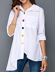 levne -Dámské - Jednobarevné Elegantní Košile, Plisé Bílá XXXL