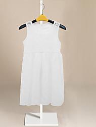 levne -Děti Dívčí Jednobarevné Krajka Trim Bez rukávů Polyester Šaty Bílá