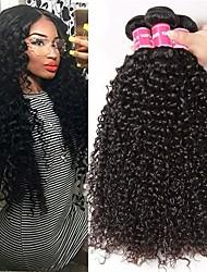 abordables -3 paquetes Cabello Brasileño Kinky Curly Paquetes 100% Remy Hair Weave Tejidos Humanos Cabello Cabello Bundle Extensiones Naturales 8-28 inch Color natural Cabello humano teje Libre de Olores Nueva