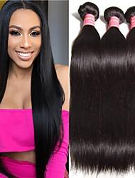 저렴한 -3 개 묶음 브라질리언 헤어 직진 버진 헤어 인간의 머리 직조 번들 헤어 인모 연장 8-28 inch 자연 색상 인간의 머리 되죠 오더 프리 소프트 흑인여성 제품 인간의 머리카락 확장 여성용