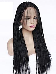 저렴한 -트위스트 드리다 / 합성 레이스 프론트 가발 / 코스튬 가발 박스 브레이드 스타일 브레이드 전면 레이스 가발 블랙 블랙 인조 합성 헤어 24 인치 여성용 아기 머리카락 / 조절가능 / 합성의 블랙 가발 보통 130 % 인간의 머리카락 밀도 내츄럴 가발 / 흑인 가발 / 베이비 헤어 포함