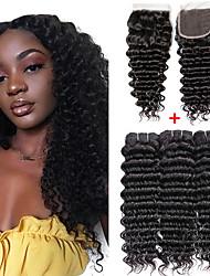 abordables -3 paquets avec fermeture Cheveux Brésiliens Ondulation profonde Paquets de 100% Remy Hair Weave Tissages de cheveux humains Extension Bundle cheveux 8-20 pouce Couleur naturelle Tissages de cheveux