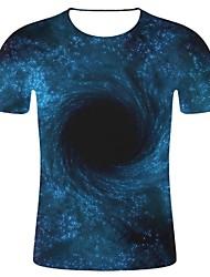 Недорогие -Муж. С принтом Большие размеры - Футболка Хлопок, Круглый вырез 3D принт / Галактика Галактика / 3D Синий