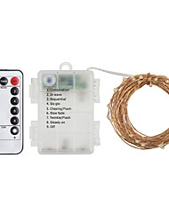Недорогие -zdm 1 комплект 33 футов 100 светодиодов водонепроницаемый ip65 3aa аккумуляторная коробка 8 режимов 11ключ ик-контроль три медные нити накаливания лампы для наружного сада dc5v (теплый белый /