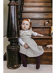 abordables -Bebé Chica Activo / Básico Un Color / A Rayas Espalda al Aire / Acordonado Sin Mangas Sobre la rodilla Algodón Vestido Azul claro