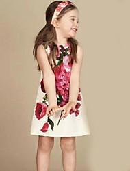 お買い得  -子供 女の子 フラワー プリント 膝上 ドレス ホワイト