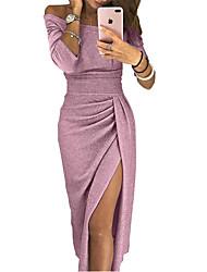 tanie -damska midi slim bodycon sukienka off ramię khaki rumieniec różowa czerwień s m l xl