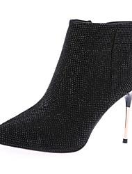 ราคาถูก -สำหรับผู้หญิง หนังแกะ ฤดูใบไม้ร่วง & ฤดูหนาว บูท ส้น Stiletto รองเท้าบู้ทหุ้มข้อ สีดำ / ผ้าขนสัตว์สีธรรมชาติ / แดง / พรรคและเย็น