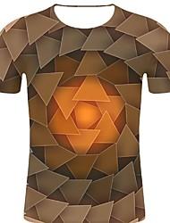 お買い得  -男性用 プリント Tシャツ ロック / 誇張された 3D / 虹色 / グラフィック ブラウン XXL