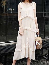 halpa -naisten polven pituus ohut vaippa mekko hihna beige xs s m l
