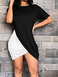 Недорогие -Жен. Классический Облегающий силуэт Оболочка Платье - Контрастных цветов Мини