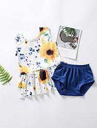 levne -Dítě Dívčí Základní Květinový Tisk Krátký rukáv Standardní Standardní Bavlna Sady oblečení Bílá
