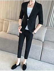 preiswerte -Schwarz Solide Reguläre Passform Polyester Anzug - Fallendes Revers Einreiher - 1 Knopf