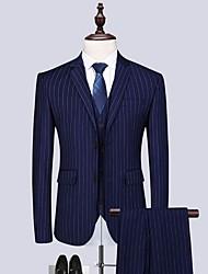 billige -Grå / Himmelblå / Havblå Stripet Skreddersydd Polyester Dress - Med hakk Enkelt Brystet To-knapp