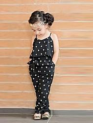 Недорогие -Дети (1-4 лет) Девочки Симпатичные Стиль Повседневные С сердцем С принтом Без рукавов Комбинезон Черный
