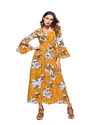 tanie -Damskie Moda miejska Elegancja Swing Sukienka - Kwiaty, Wiązanie Patchwork Midi