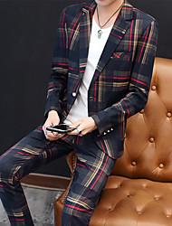 abordables -Rouge / Vert Rayé Coupe Slim Polyester Costume - Cranté Droit 1 bouton