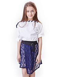 abordables -Enfants Fille Actif / Basique Mosaïque Mosaïque Manches Courtes Normal Coton Ensemble de Vêtements Blanc