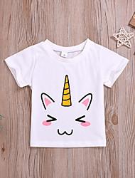 abordables -Bebé Chica Activo / Básico Estampado Manga Corta Algodón Camiseta Blanco