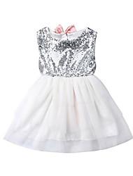 abordables -bébé Fille Actif / Basique Mosaïque Paillettes / Noeud Sans Manches Coton Robe Blanc