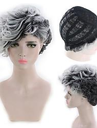 billige -Blondeparykker af menneskehår Kinky Glat Stil Mellemdel Lågløs Paryk Mørkebrun Sort / Hvid Syntetisk hår 26 inch Dame Dame Mørkebrun Paryk Lang Naturlig paryk