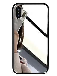Недорогие -Кейс для Назначение Apple iPhone XS / iPhone XR / iPhone XS Max Зеркальная поверхность Кейс на заднюю панель Однотонный Твердый Закаленное стекло
