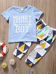 abordables -bébé Garçon Actif / Basique Géométrique / Imprimé Imprimé Manches Courtes Normal Normal Coton Ensemble de Vêtements Bleu clair / Bébé
