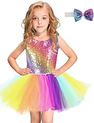voordelige -Kinderen Meisjes Regenboog Netstof Jurk Regenboog