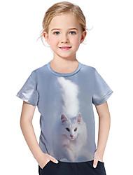 abordables -Enfants / Bébé Fille Actif / Basique Géométrique / Imprimé Imprimé Manches Courtes Polyester / Spandex Tee-shirts Bleu clair