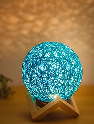 billige -1pc MOON Nursery Night Light Blå / Gul Usb Sikkerhed / Smart / Genopladelig <=36 V
