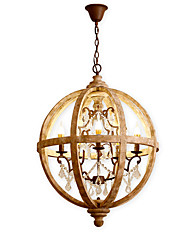 abordables -Ecolight 5 lumières Bougie / Globe / Batterie/Tambour Lustre Lumière d'ambiance Bois Bois / Bambou Style Bougie, Arbre 110-120V / 220-240V Blanc Crème / Blanc