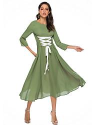 abordables -Femme Midi Balançoire Robe Couleur Pleine Vert M L XL Manches 3/4