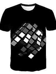 abordables -Hombre Estampado Camiseta Bloques / 3D / Gráfico Negro XXXXL