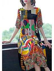 cheap -Women's Sophisticated Elegant Sheath Dress - Geometric Print Rainbow XL XXL XXXL