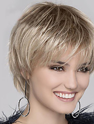 halpa -Synteettiset peruukit Luonnollinen suora Tyyli Vapaa osa Suojuksettomat Peruukki Vaaleahiuksisuus Vaalea kulta Synteettiset hiukset 12 inch Naisten Muodikas malli / Naisten / synteettinen