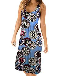preiswerte -Damen Grundlegend Street Schick Hülle T Shirt Kleid - Druck, Blumen Einfarbig Knielang