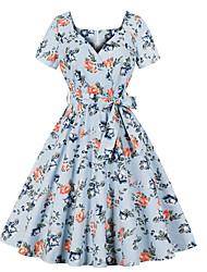 cheap -Women's Vintage A Line Dress - Floral Patchwork Light Blue L XL XXL