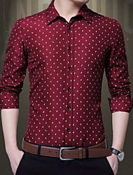 billige -Herre - Prikker Trykt mønster Skjorte Blå XXXL