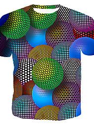 Недорогие -Муж. Размер ЕС / США - Футболка Хлопок, Круглый вырез Тонкие Контрастных цветов / 3D / Графика Цвет радуги