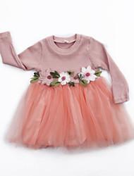 abordables -bébé Fille Actif / Basique Fleur Plissé / Maille Manches Longues Coton Robe Blanc