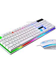 Недорогие -LITBest USB Проводной Мышь Клавиатура Комбо Градиент цвета / Подсветка Игровые клавиатуры Игры / Водонепроницаемость Gaming Mouse 1600 dpi