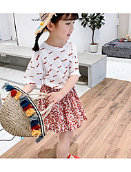 cheap -Toddler Girls' Active / Boho Color Block Print Short Sleeve Regular Regular Cotton Clothing Set White